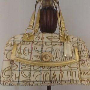 Vintage fabric and leather coach handbag